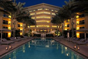 The pool at Edgewater Beach Hotel in Naples, Florida at night