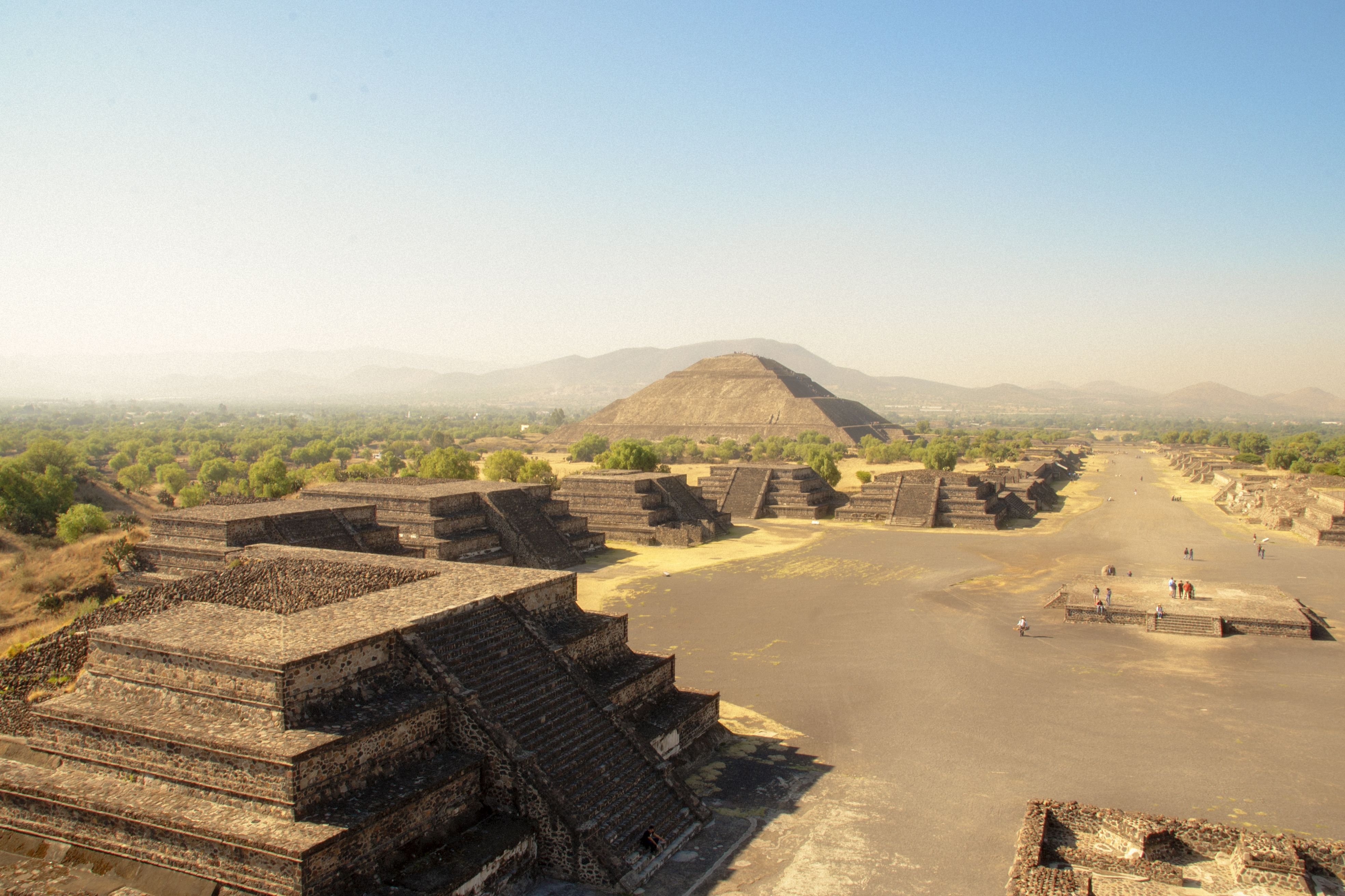 Elevated view of the ruins at Teotihuacan