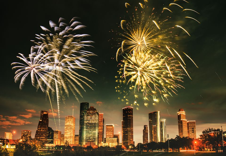 fireworks for a national holiday in Houston
