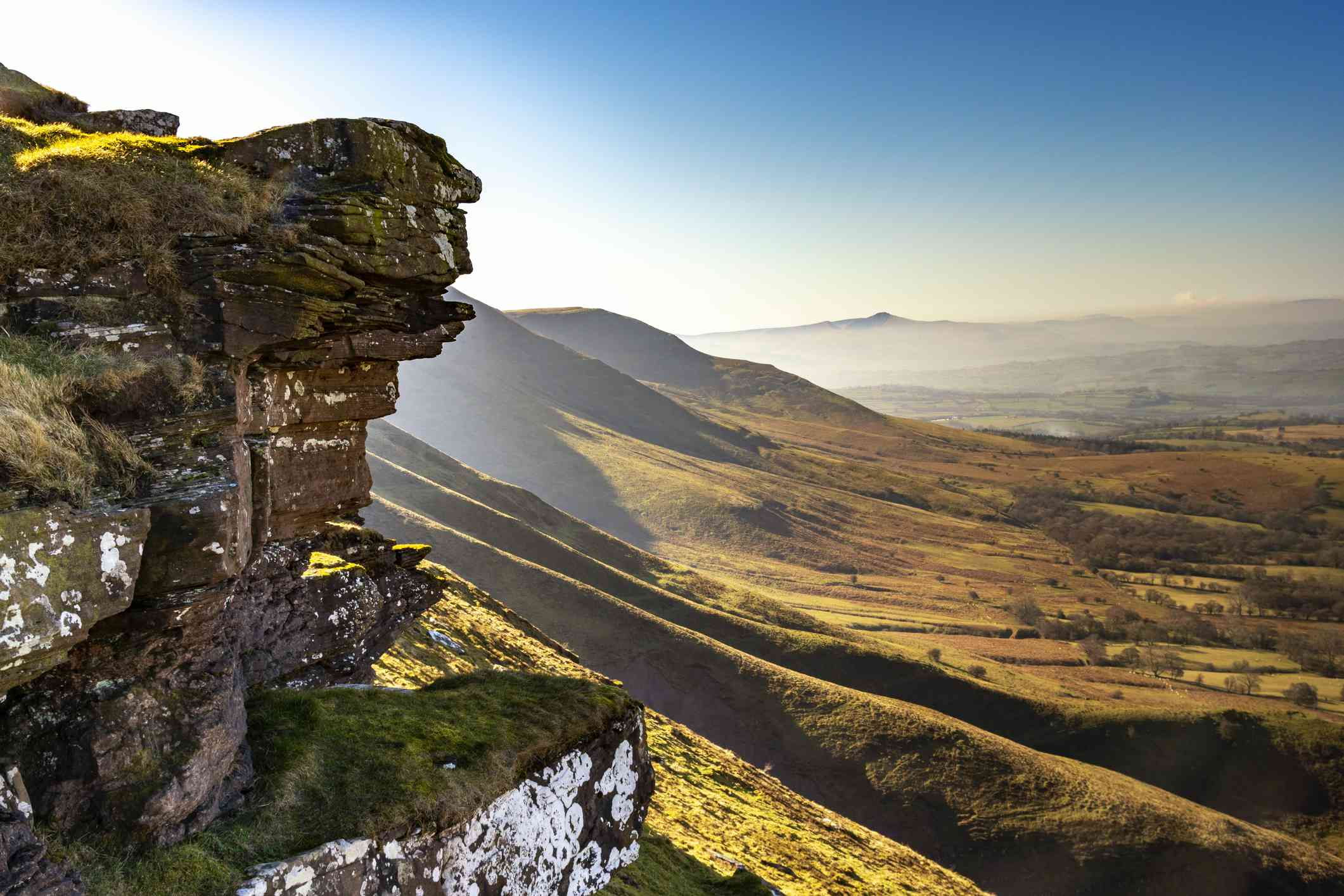 Cliff and hills of Brecon Beacons national park in wales