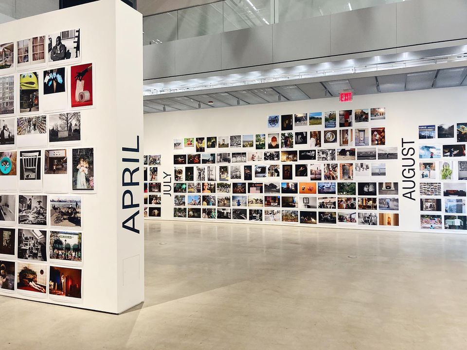 """Art gallery walls covered in small color photographs with """"APRIL"""" """"JULY"""" and """"AUGUST"""" written on the wall"""