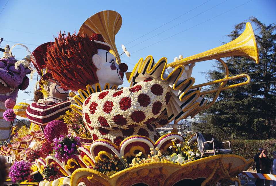 Clown float at the Rose Parade