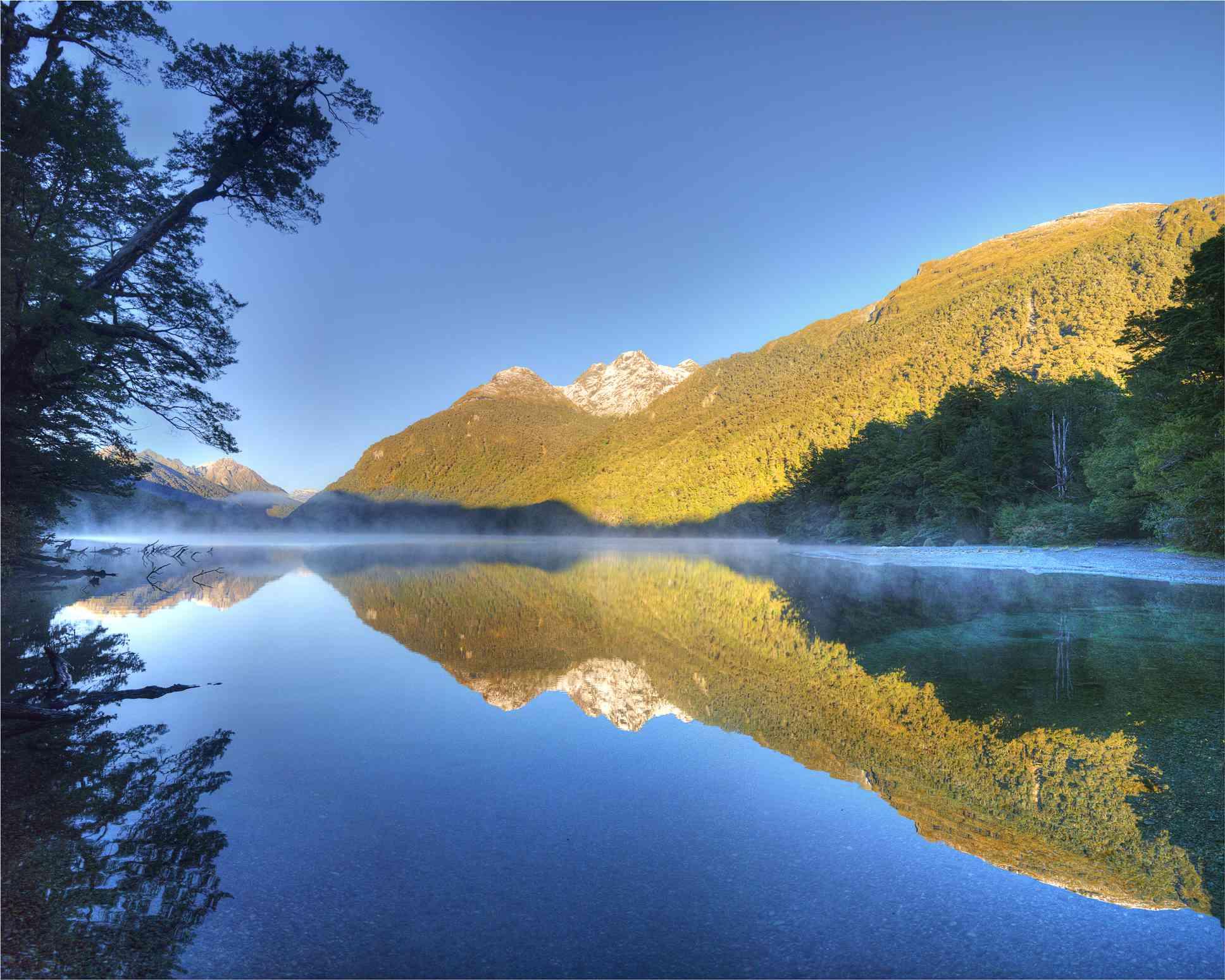 reflective lake and mountains