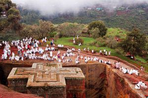Rock hewn Church of St. George in Ethiopia