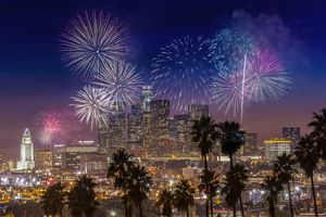 Fireworks over Downtown Los Angeles, California