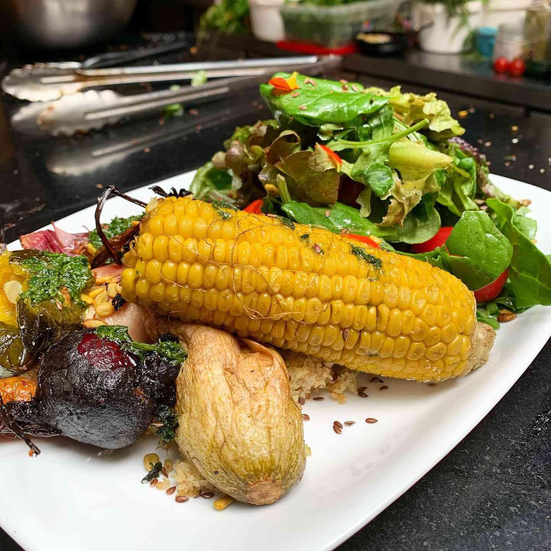 Roasted Veggies and salad at La Fonda