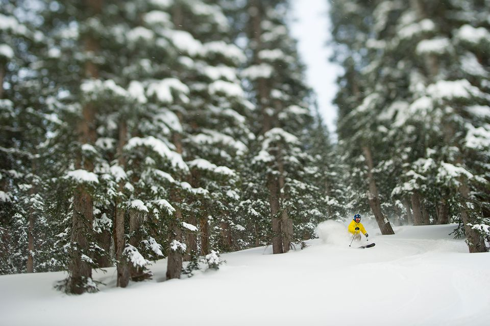 Man skiing at Snowbird in winter scenery.