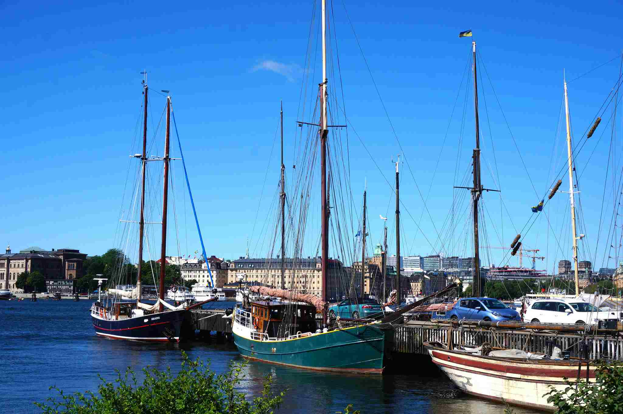 A view of Djurgarden on the water.