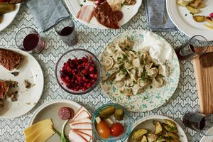 Dining table with Russian dishes