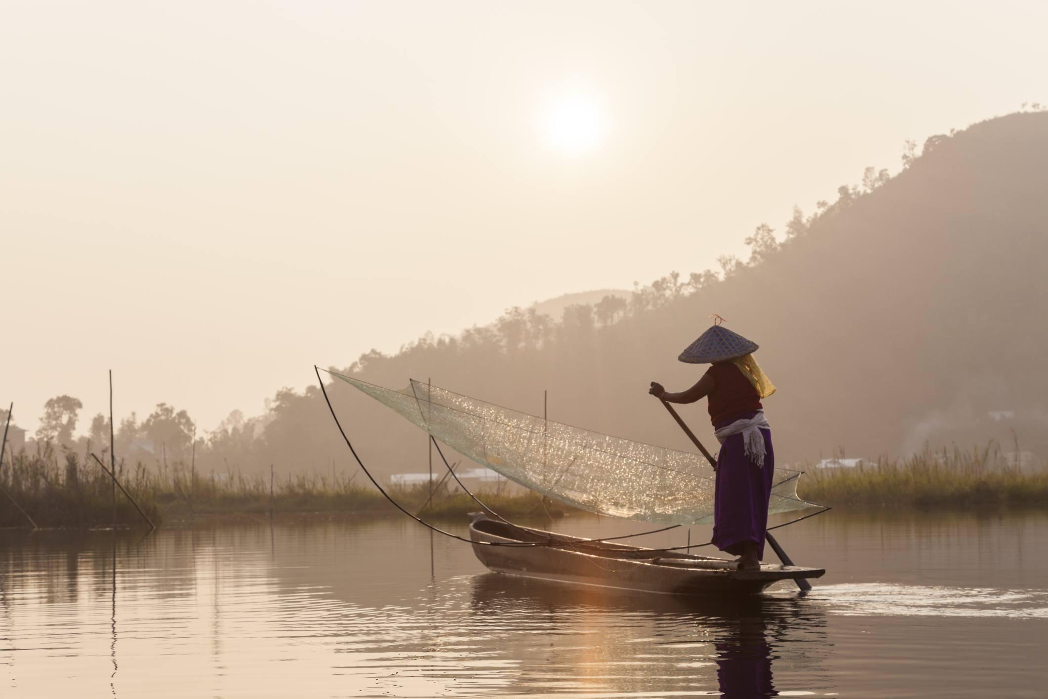 Fishing on Loktak Lake, Manipur.