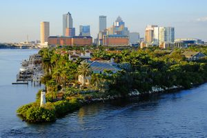 The Tampa skyline, as viewed from the coast