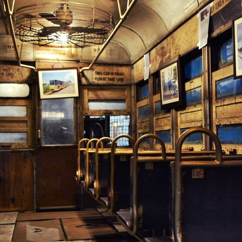 Inside a tram at Tram World, Kolkata.