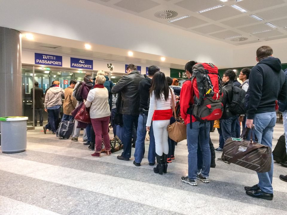 Passport control at Milan airport