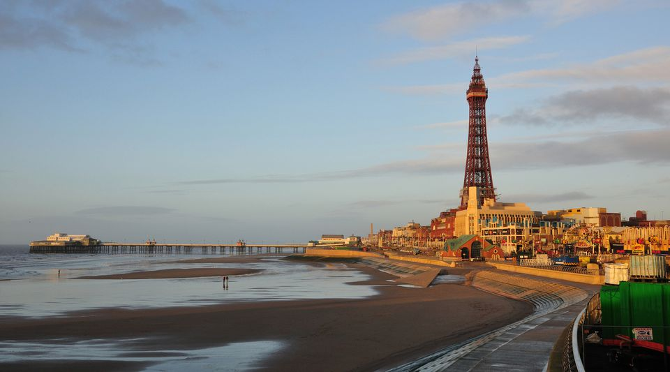 North Pier and Blackpool Tower in Blackpool, England.