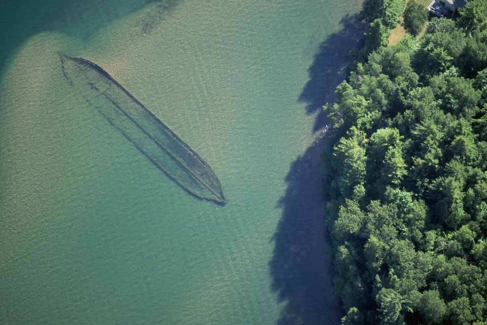 Aerial view of a sunken ship in Lake Superior, near Wisconsin's Apostle Islands