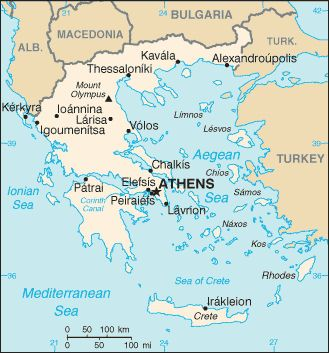 map of greece from the cia world factbook in the public domain