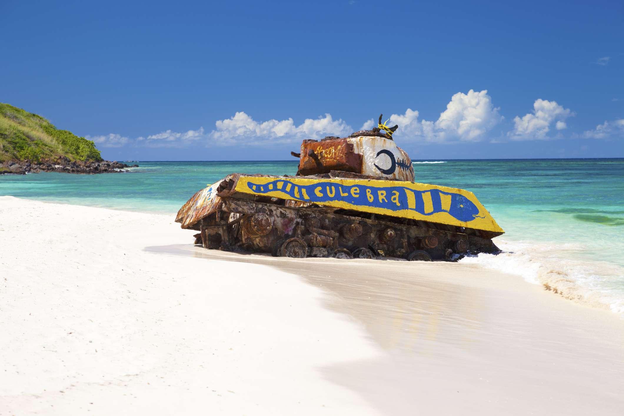 Rusted army tank on Flamenco Beach in Culebra Island, PR
