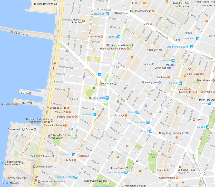 Detailed Map Of New York City.New York City Soho And Tribeca Neighborhood Map