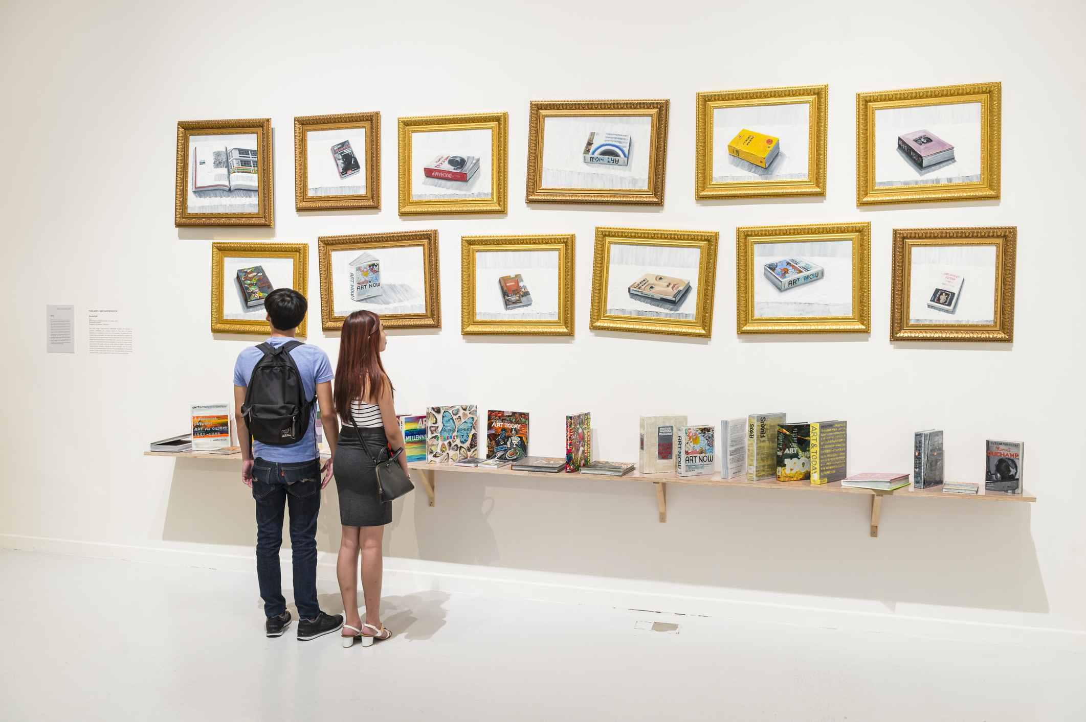 """Exhibit at Singapore Art Museum, """"Bookshelf"""" by Torlarp Laroensook"""