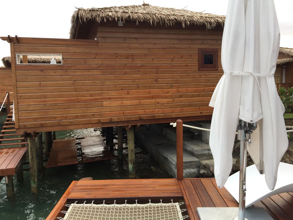 a45bcad8813ab Overwater Bungalows Do Not Float. side view sandals st lucian