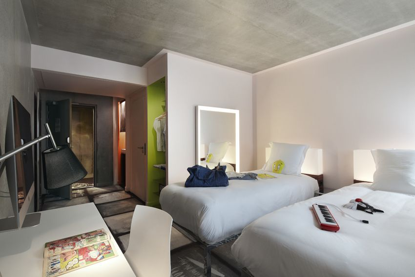 Twin Luxe room at Mama Shelter Lyon