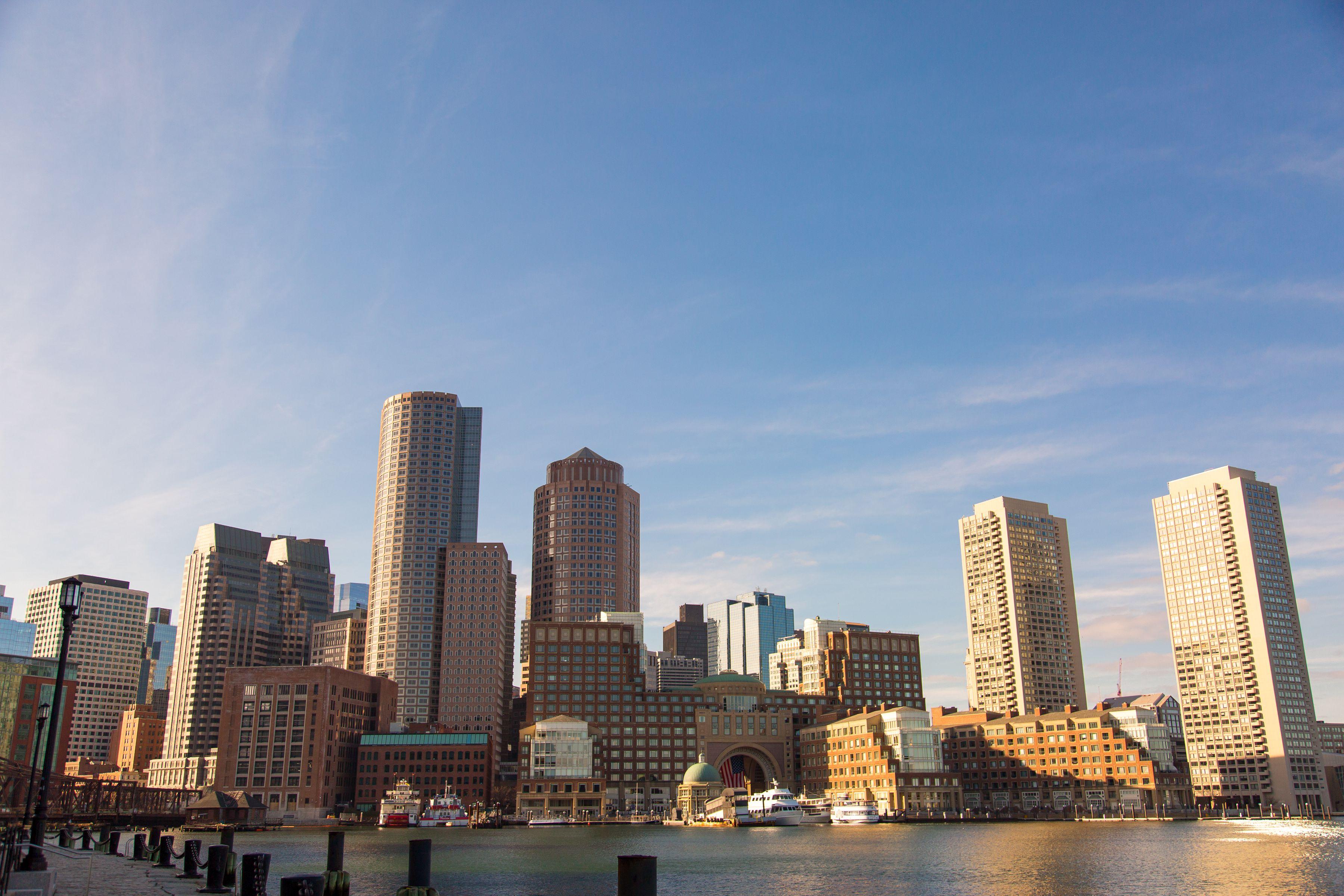 Blick auf die Skyline von Boston Harbor