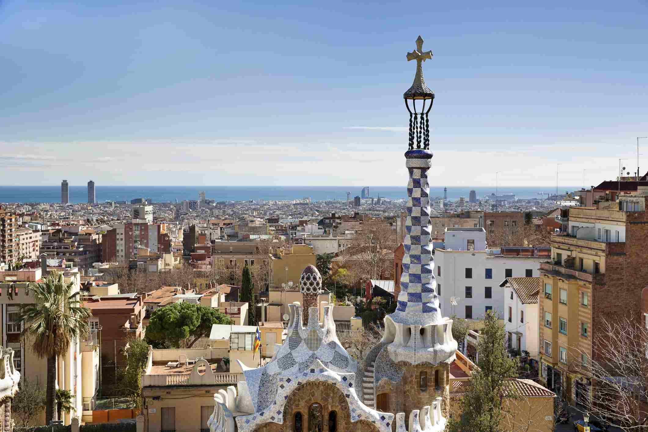 Barcelona Spain aerial view with Gaudi church