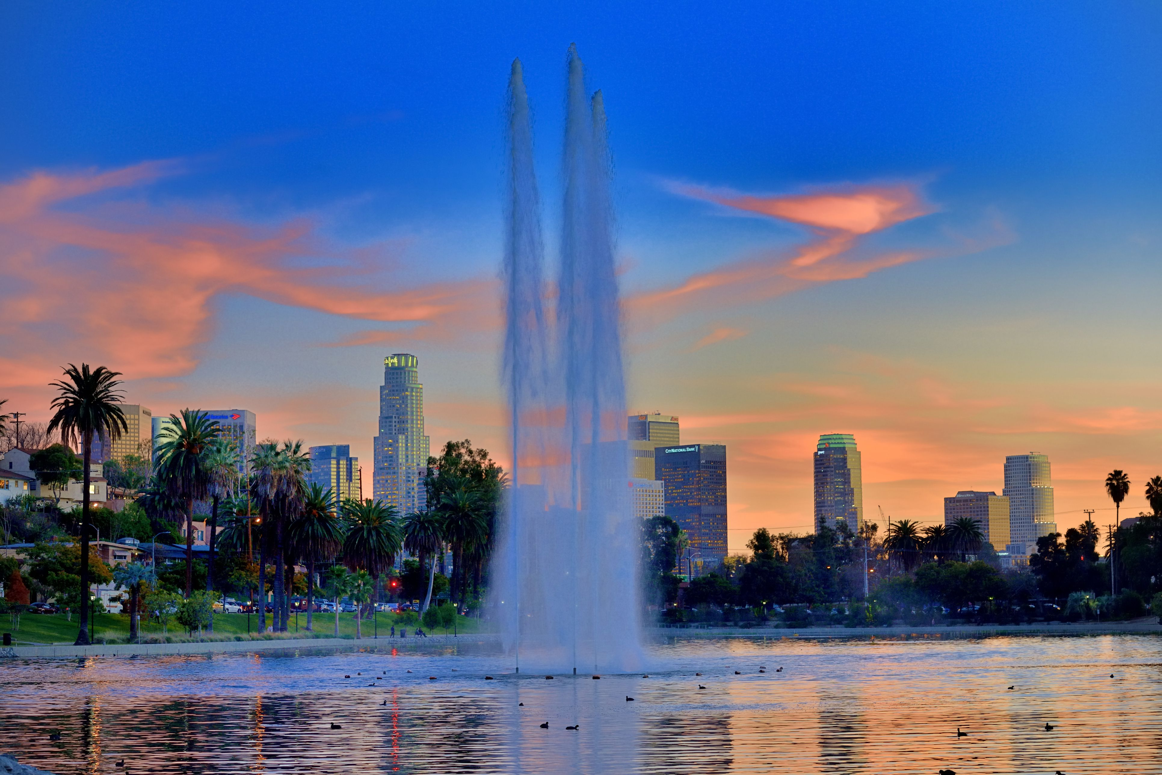 Downtown at sunset, seen from Lake Echo Park