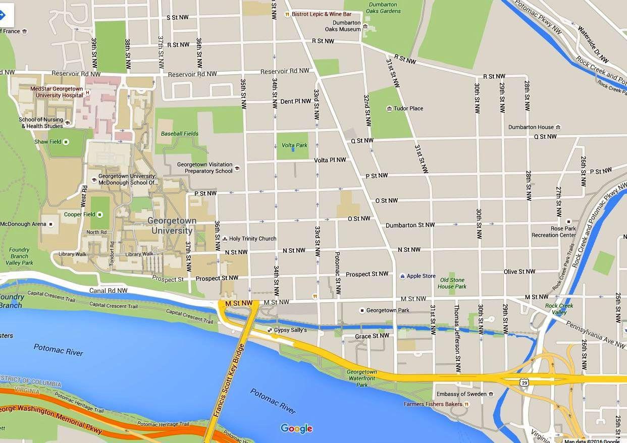 Georgetown Washington Dc Kart Veibeskrivelser Og Transport