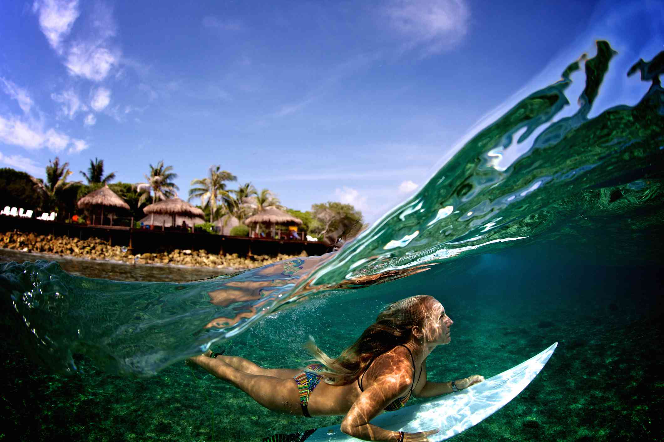 Surfing in the Maldives.