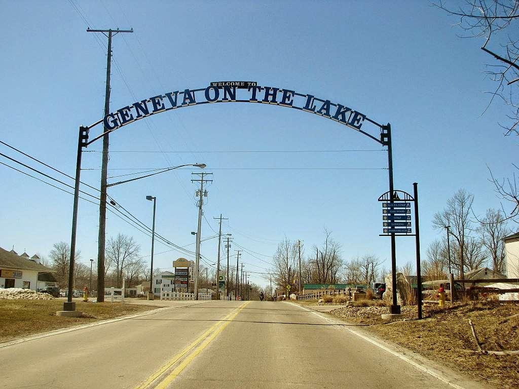 Ginebra en el lago, cartel de bienvenida de Ohio
