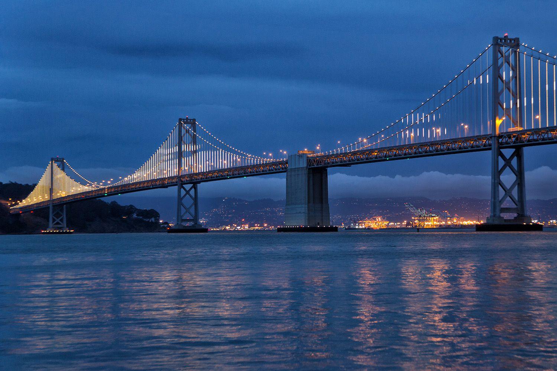 bay lights and the san francisco bay bridge. Black Bedroom Furniture Sets. Home Design Ideas