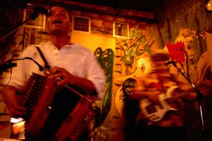 Band playing Cajun/zydeco in French Quarter.