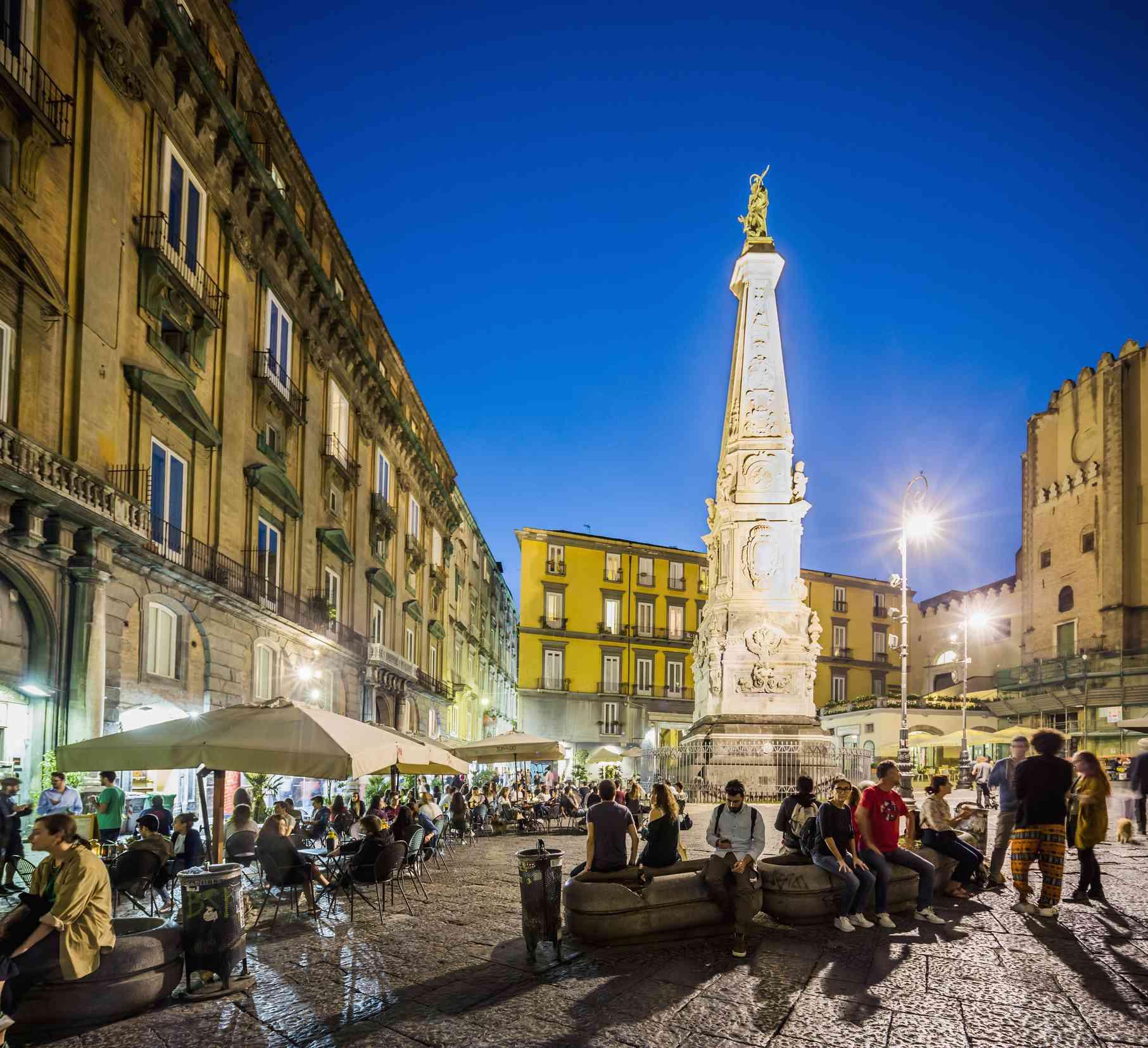 Evening crowds on Piazza San Domenico Maggiore, Naples