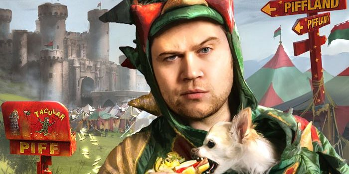 A man wears a dragon costume holding a dog