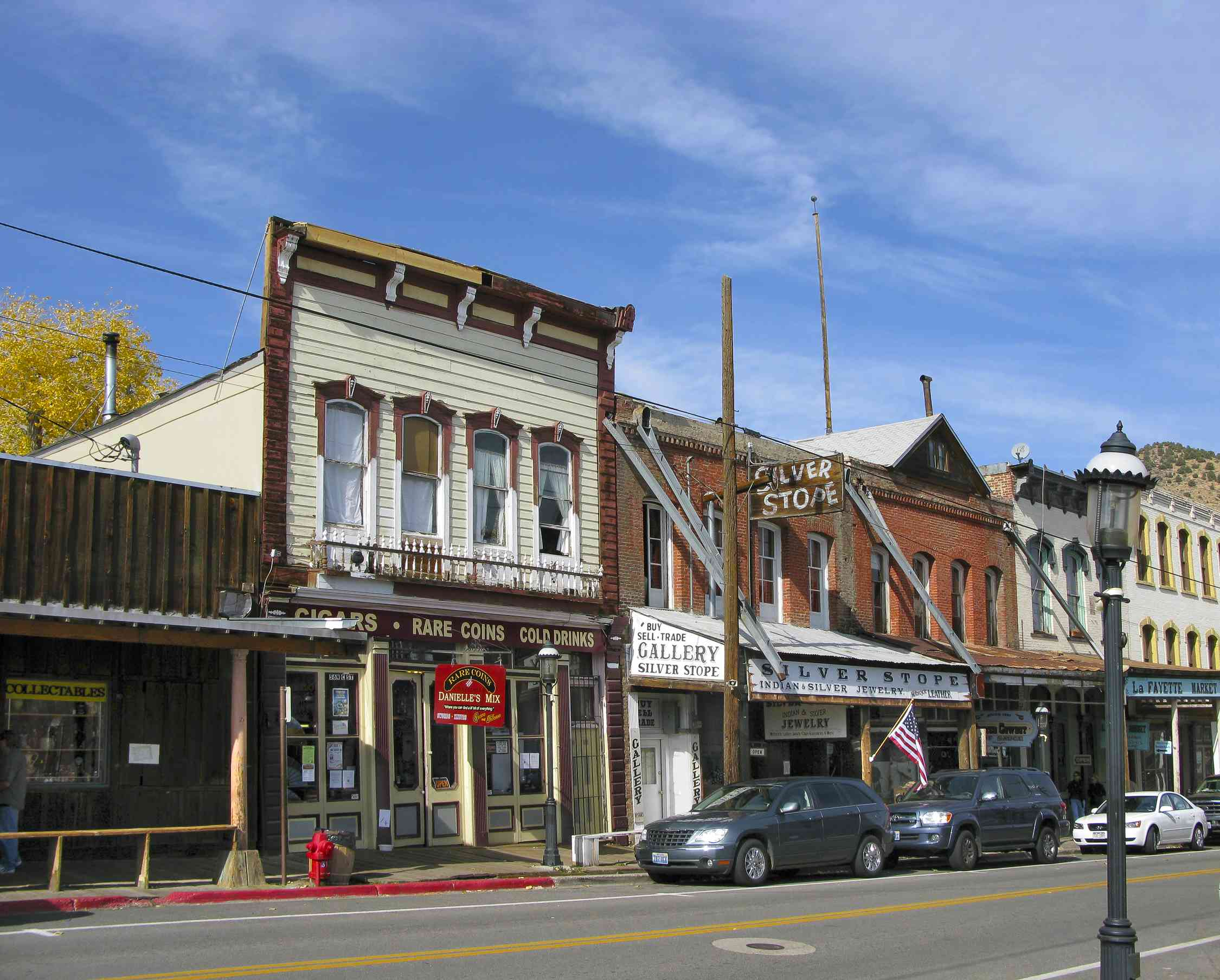 Central street with historical buildings in Virginia City, Nevada, USA