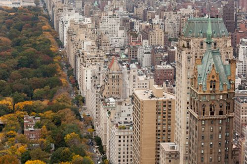 Fifth Avenue, Central Park and upper East Side, New York, NY.