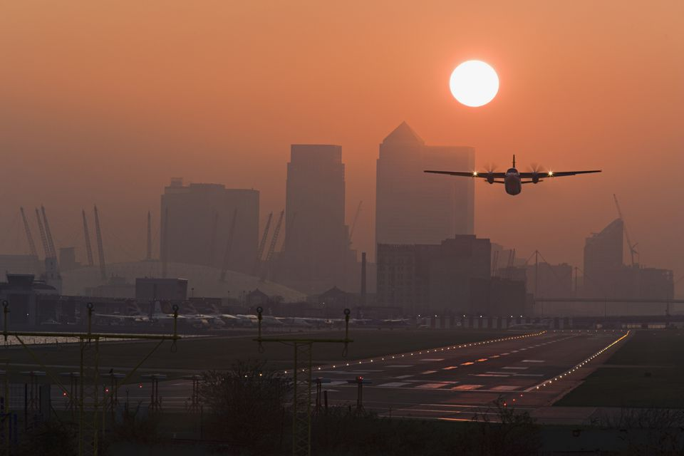 London City Airport at dusk