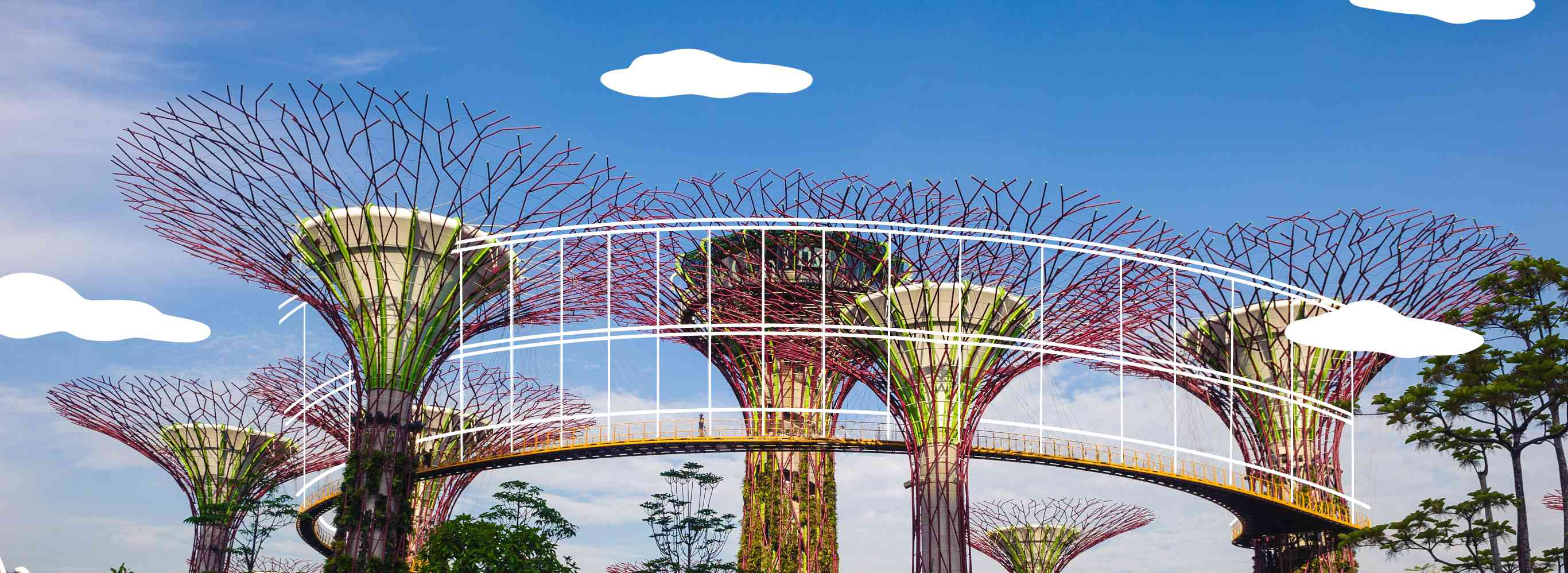 Super trees in Singapore with illustrated lines and clouds