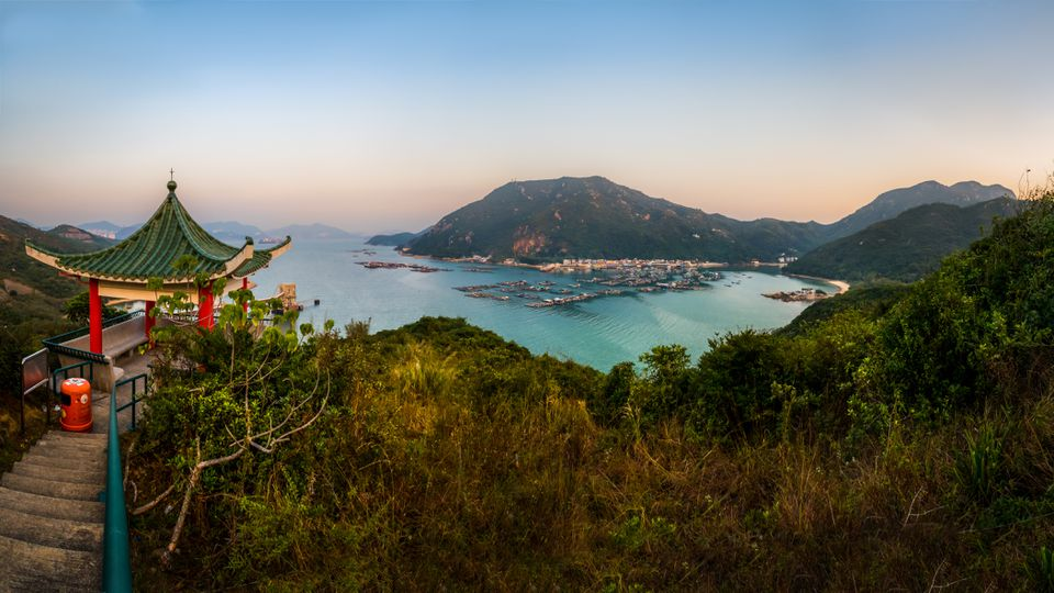 Vista panorámica de Sok Kwu Wan, Isla Lamma, Hong Kong