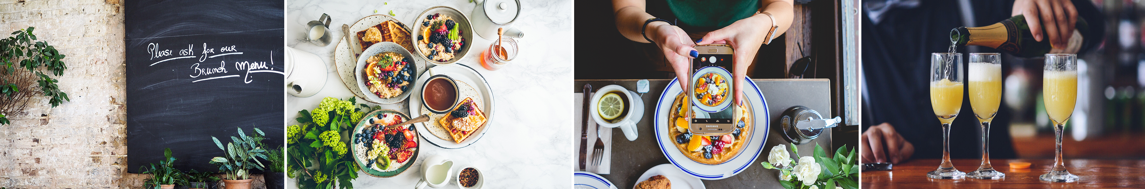 A collage of brunch images including a few glasses of mimosas, someone using their phone to take a picture of their brunch plate, and a place setting with several brunch dishes like waffles and yogurt parfait