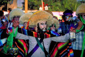 Parachicos in the Fiesta Grande in Chiapas
