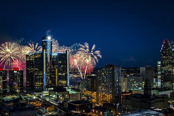 Detroit's skyline with fireworks
