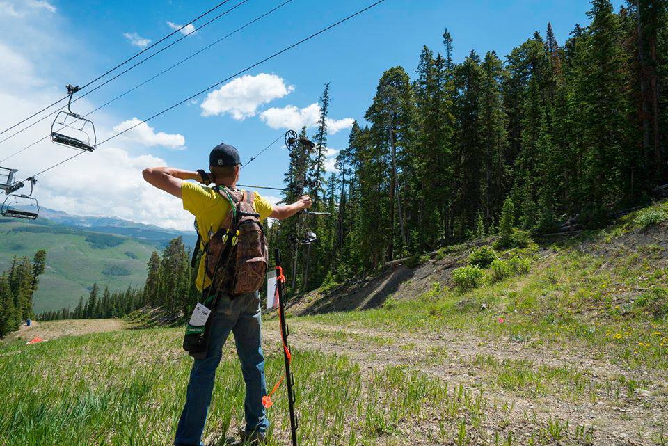Someone shooting an arrow at the Crested Butte Mountain Resort
