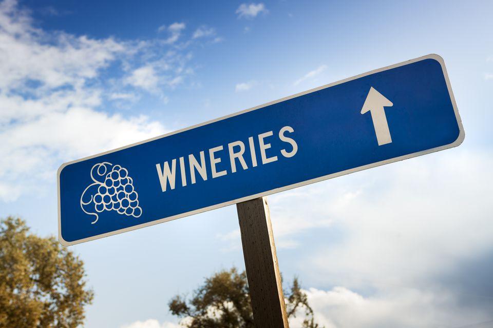Wine region sign to wineries