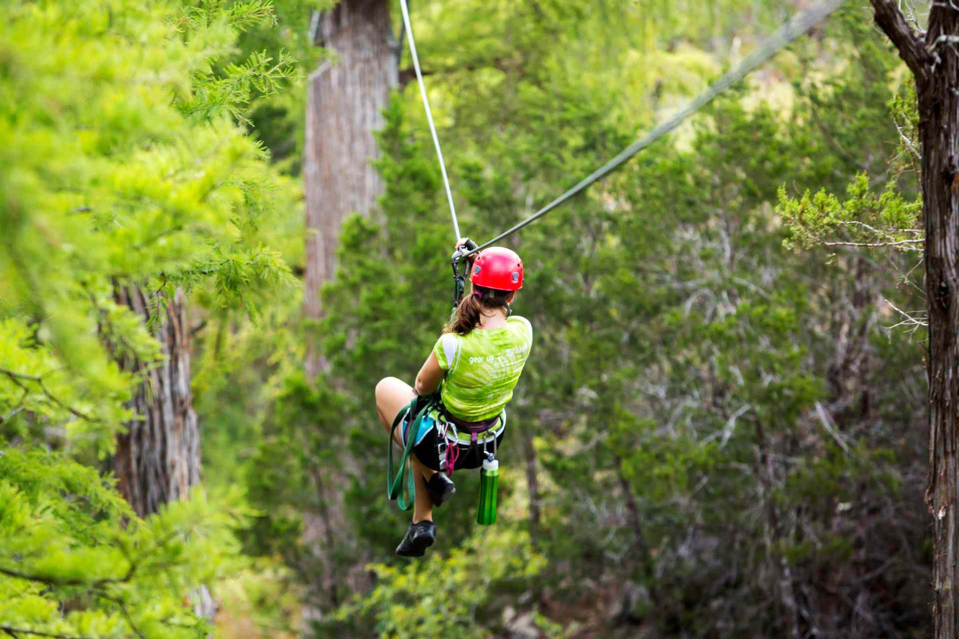 Back view of a woman on a zipline in a thick forest