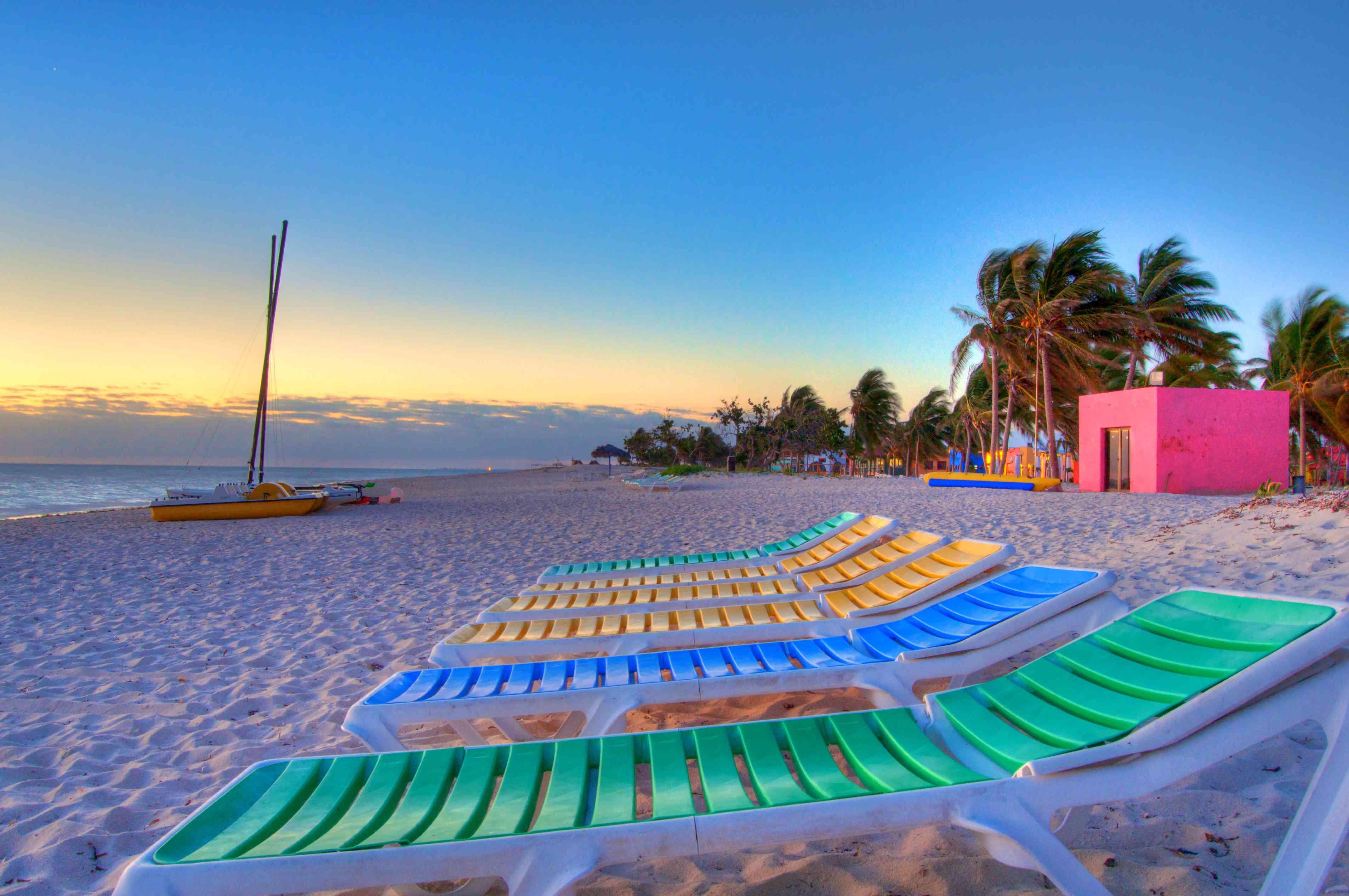 Colourful white sand beach sunrise