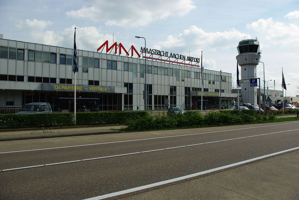 The exterior of Maastricht Aachen Airport