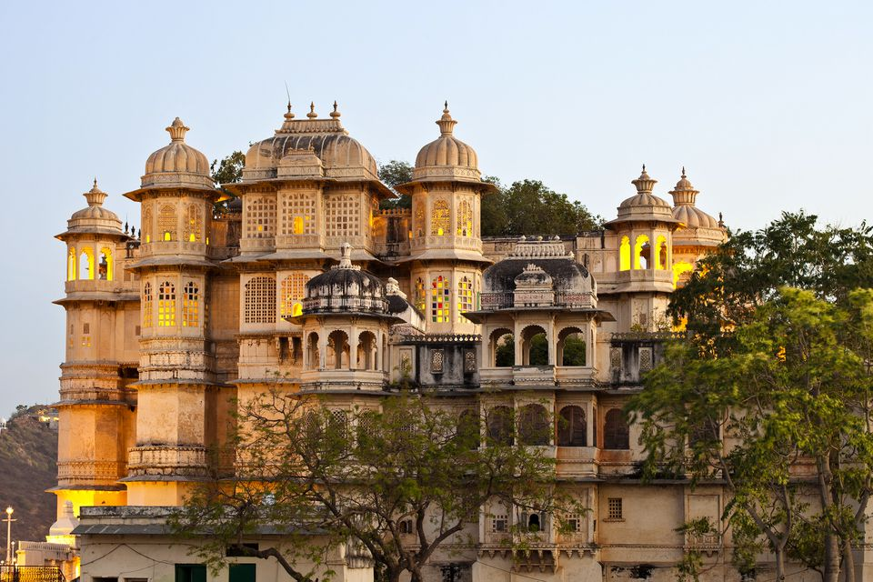 City Palace In Udaipur, Rajasthan, India Overlooking The Town