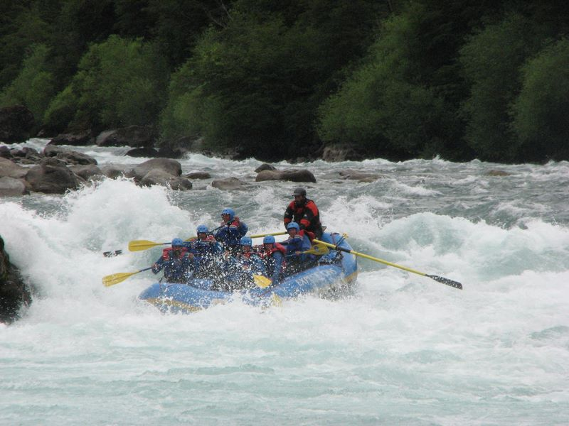 A group white water rafting in the Rio Futaleufu